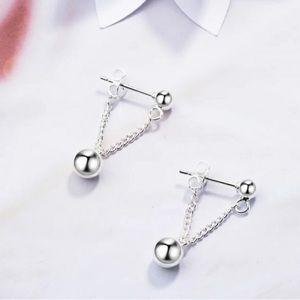 Silver Beaded Chain Ball Stud Earrings